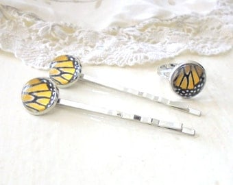 Butterfly Wing Hair Pins and Ring Set, Monarch Butterfly, Feminine Hair Accessories, Rhodium Titanium