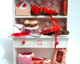 Valentine Cabinet filled with goodies dollhouse miniature 1/12 scale
