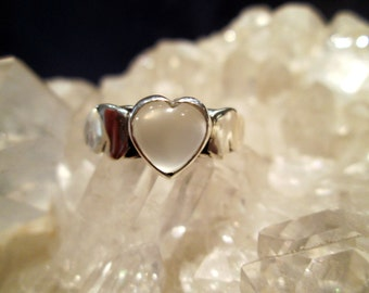 Natural Moonstone Heart and Wings Ring ~Sterling Silver~ Handmade