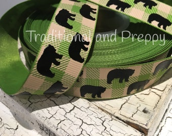 "7/8"" Buffalo Plaid green tan Black Bear grosgrain ribbon"