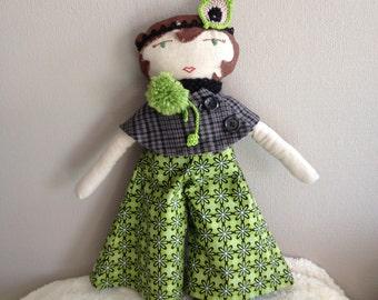 Folly Mae cloth doll / roaring twenties doll / heirloom gift for girl / waldorf-inspired cloth doll with accessories / FERN