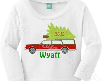 Old Station Wagon with Tree Christmas Outfit with Name