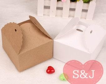 10pcs 9x9x6cm Kraft DIY cake/cupcake cardboard paper boxes