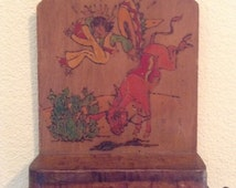 Vintage mexican southwestern rodeo girl key & mail letter holder cowgirl on bull western decor salvage Mexico painted on wood