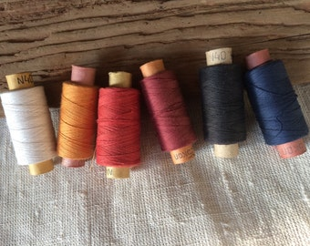 Soviet vintage thread lot of 6 spools color mix sewing supplies made in USSR millinery collectibles and photo props