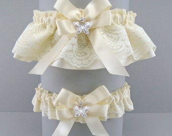 Wedding Garter Set Ivory on Ivory, on Lace and Satin with Bow and Butterfly Charms (May also be purchased individually) DX/BF