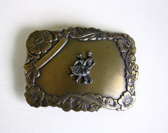 1980s Rockabilly Dancers Belt Buckle Square Dancing Swing Dancing Bronze Tone Metal Buckle Country Western