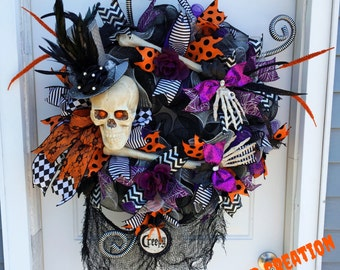 Halloween skeleton, Purple & orange Halloween, skeleton decor, fall wreath, Halloween decor, XL skeleton wreath, Creepy Halloween, Fall Deco