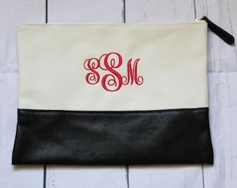 Monogrammed Zip Pouch, Monogrammed Zipper Pouch, Monogrammed Accessory Bag, Accessory Pouch, Monogrammed Makeup Pouch, Makeup Bag