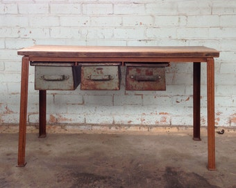 industrial sideboard, industrial display table, display table, rustic sideboard, merchandiser