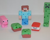 Fondant Minecraft Cake Toppers, fondant minecraft cupcake toppers