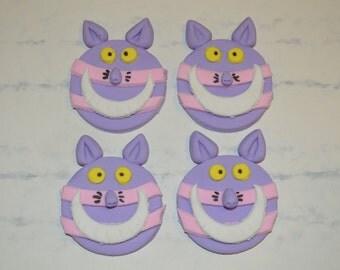 Cheshire Cat Cupcake Topper, Cheshire Cat Fondant Topper, Cheshire Cat Fondant Cupcake Topper, Alice in Wonderland