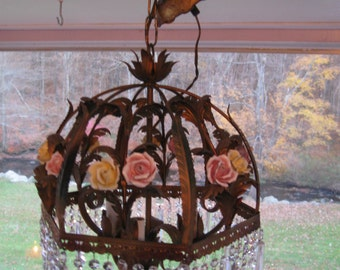 Vintage,Feathers & Florals Umbrella Tole 3 light Chandelier w/Porcelain Roses and crystal spears....