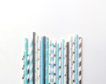 25 Metallic Sweet Boy Paper Straws