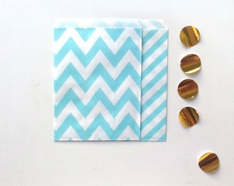 24 Light Blue Paper Bags Party Goodies Sweets in 2 designs with gold stickers