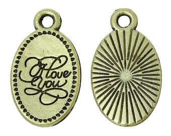 Bronze Oval Charms, I Love You Tab, Love Pendants, Valentines Day, Tab Charm 4/10/20 4345