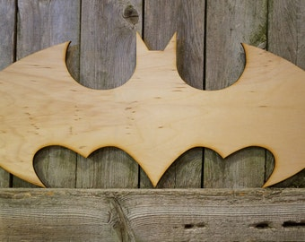 Batman logo wall hanging sign/gift/cutout/laser/door/decor/unfinished/wood/laser