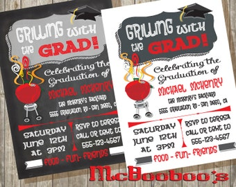 Grilling with the Grad- Graduation bbq barbecue Party Invitations-chalkboard or white background-printed or printable