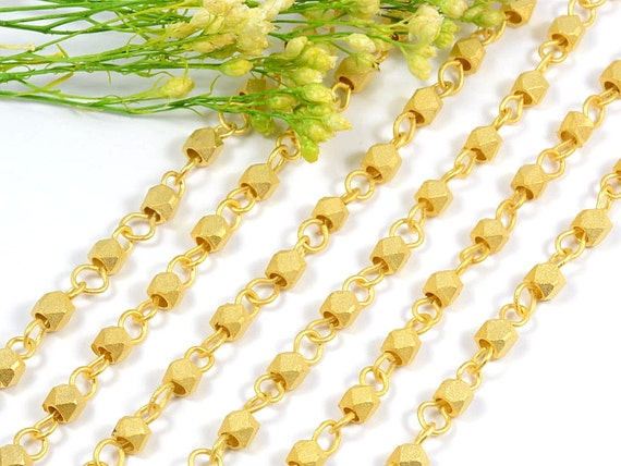 3.5 to 4mm Matte Gold Rosary Chain with Faceted Bead,Brushed Gold Chain, Brass Diamond Cut Metal Bead Rosary Chain - 2.5FT+/ order