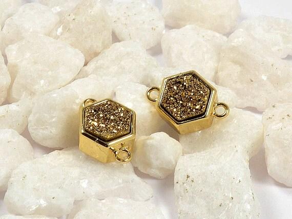 Brown Druzy Connector, Hexagon Druzy in Golden brown, Natural Titanium Agate Drusy Gemstone Jewelry  - 1 pc/ pkg