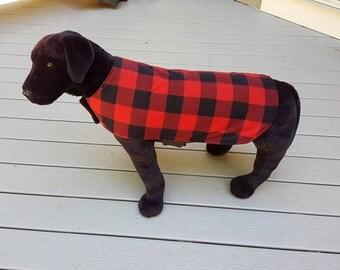 Reversible Fleece Dog Coat,  Buffalo Plaid Dog Coat, Dog Clothing, Dog Apparel