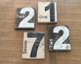 Wood number/Wall gallery display/Wall hanging
