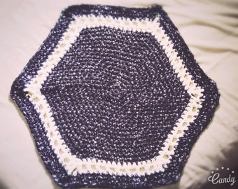 Handmade Black and White Crochet Bath Mat/Rug