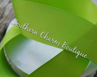 "3 yards of 1 1/2 "" solid lime green grosgrain ribbon"