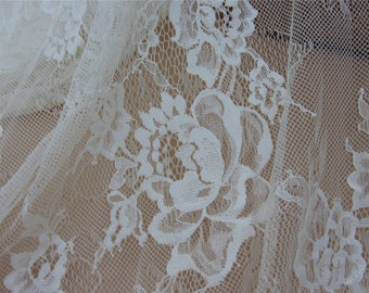 1yard Chantilly Lace Fabric in Ivory Cream for Bridal Gowns, Mantilla  Veils,eyelash lace