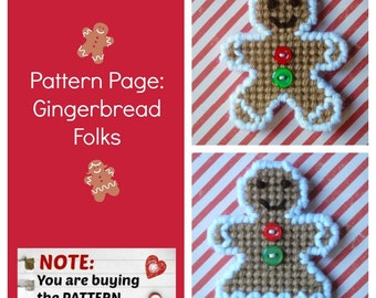 "Plastic Canvas Pattern Page: ""Gingerbread Folks"" (2 designs, graphs and photos, no written instructions) ***PATTERN ONLY!***"