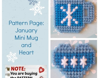 """Plastic Canvas Pattern Page: """"January Mini Mug and Heart"""" (2 designs, graphs and photos, no written instructions) ***PATTERN ONLY!***"""