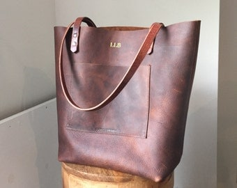 Oil Tanned Leather Tote Bag • Large Brown Everyday Tote • Rustic Leather Book Bag • Distressed Market Bag