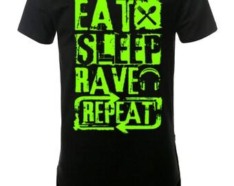 Green Rave Men's Elongated T-Shirt Street Wear, Curved Hem Hipster