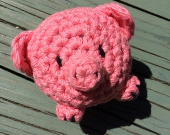 Rosie the Tiny Pig - crocheted Amigurumi - Cotton Plush for Baby and Toddler