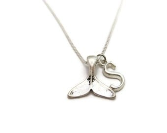 Whale Tail Necklace Personalized Whale Tail Necklace Whale Fluke Necklace Beach Jewelry Customized Initial Necklace Ocean Letter Jewelry