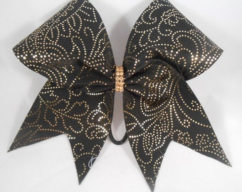 Black w Gold Intricate Designs and Rhinestone Center Cheer Bow by BlingItOnCheerBowz