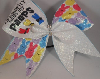 Cheer Bow SUBLIMATED on Glitter Cheerin' with my PEEPS by BlingItOnCheerBowz