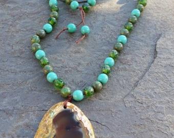 Aqua Mix Glass Bead Agate Necklace