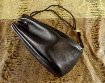 Small Black Leather Drawstring Dice Bag Coin Purse Pouch w/ Wooden Bead