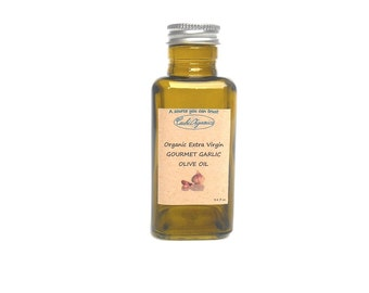 ORGANIC GARLIC Extra Virgin Olive oil Natural flavor infused 3.4 fl oz - 100 ml dark green glass bottle