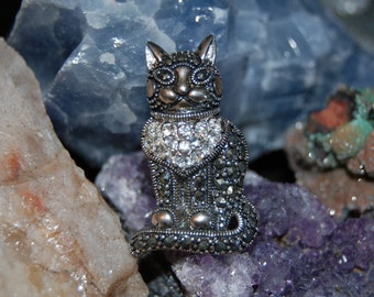 Vintage Marcasite CZ  Sterling Silver Kitty Cat Russian Turkish Pin Brooch #BKC-KBRCH31
