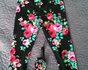 Vintage inspired baby girl floral leggings and headband set • Made to order