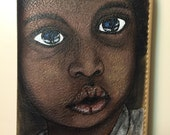 Wallets for women - Clutch Purse - wallet Hand- painted African American boy