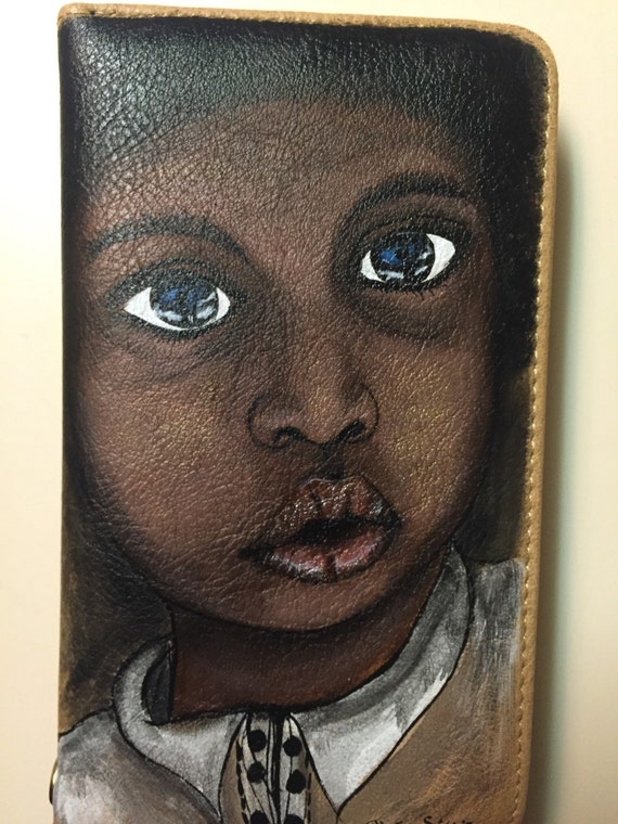 Women's wallet - Clutch Purse - wallet Hand- painted African American boy