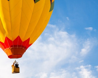 Printable Yellow Hot Air Balloon Floating in Blue Sky Color Digital Photograph