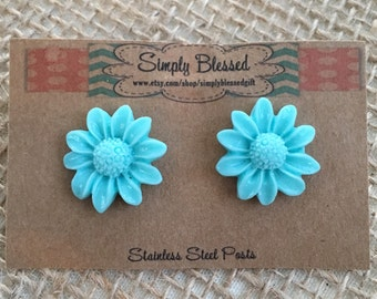 Aqua Blue Daisy Flower Button Stud Earrings - Perfect for girls and tweens - stocking stuffer gift