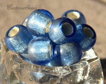Rondelle Beads, 12x8mm Bead w/ 5mm Hole, Blue, Light Sapphire w/Silver Lining, Roller Beads, Pony Beads, Czech Glass Beads, 4 Pieces, 0005