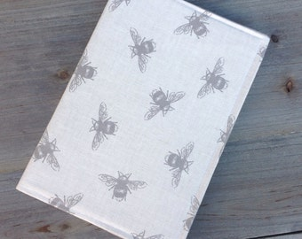 Fabric covered a5 hard backed notebook in Bee fabric