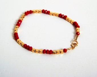 Sale - Red beads bracelet Stacking bracelet gold filled Red swarovski bracelet,   Minimalist Bracelet, Red and Gold, summer bracelet