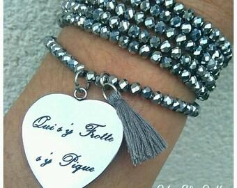Bracelet multi-turn Pearl silver colour